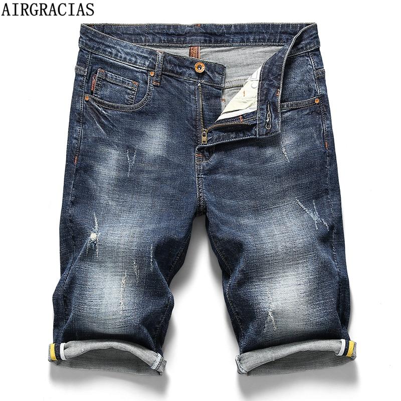 AIRGRACIAS Summer New Cotton Denim Shorts Men Jeans Bermuda Knee-Length Solid Blue Elastic Male Short Trousers Plus Size 28-40