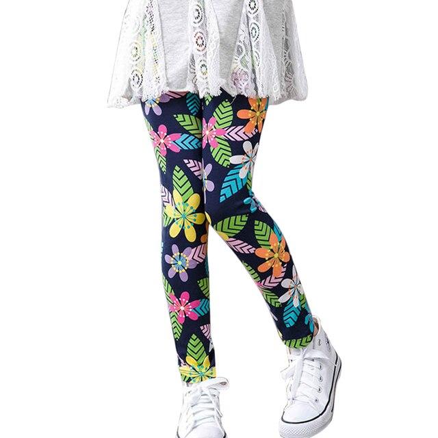 Детские хлопковые брюки Леггинсы для маленьких девочек детская с цветочным принтом классические леггинсы для малышей Девушка узкие подростков штаны для девочек леггинсы