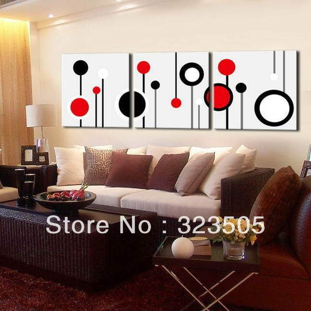 Modern Wall Art For Living Room #38: 3 Piece Canvas Wall Art Wall Picture Modern Wall Abstract Oil Canvas Painting Black White And