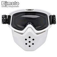 White Frame Detachable Mask Ski Goggles For Open Face Half Helmet Vintage Motorcycle Men Women Outdoor