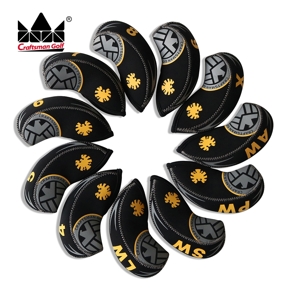 Craftsman Golf Iron Covers Headcovers Fit  JPX MP AP 4 5 6 7 8 9 AW SW PW LW X 11PCS S.H.I.E.LD NEOPRENE