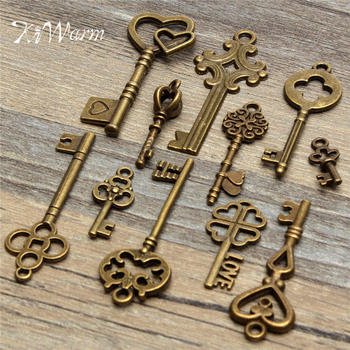11Pcs Antique Vintage Old Look Bronze Skeleton Keys Fancy Decor Metal Crafts