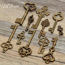KiWarm набор из 11 предметов, антикварные винтажные бронзовые скелетоны, ключи, Необычные сердца, лук, подвеска, сделай сам, Декор, металлические...