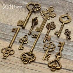 KiWarm Dedicate Set 11Pcs Antique Vintage Old Look Bronze Skeleton Keys Fancy Heart Bow Pendant DIY Decor Metal Crafts