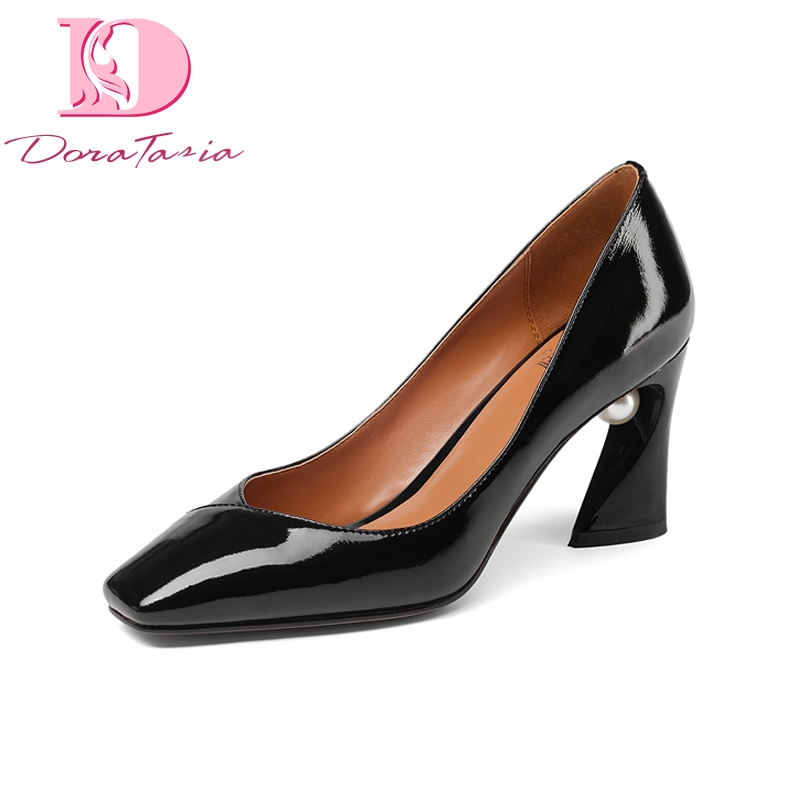 DoraTasia New Fashion Genuine Leather Square Toe Square High Heels Shoes Woman Casual Office Spring Pumps Black Big Size 33-43