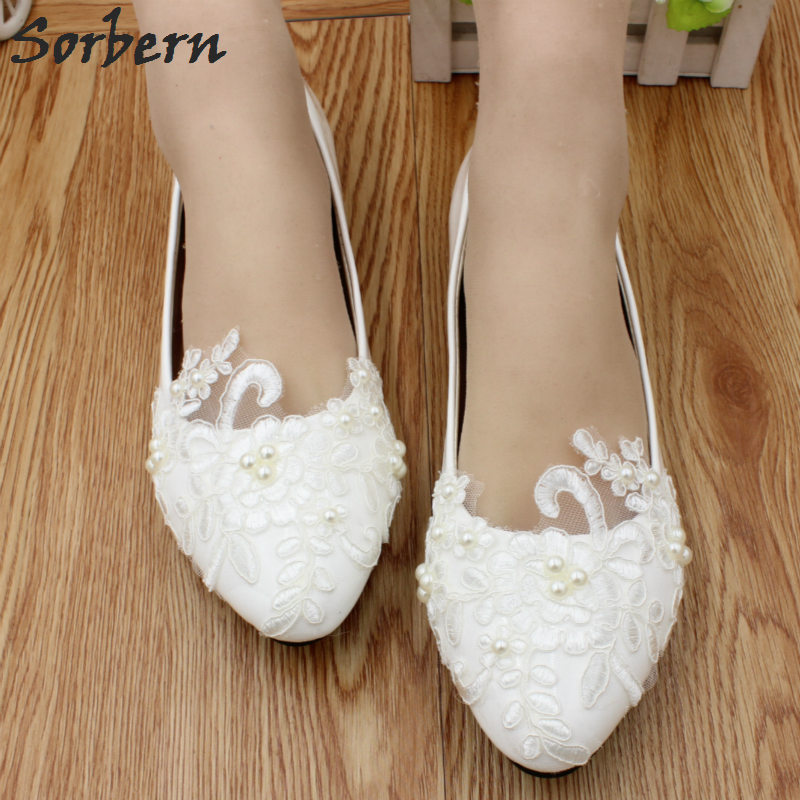 Sorbern Elegant Lace Appliques Beads Wedding Shoes Pointed Toe White Flower Bridal Shoes Flat Heels Ladies Flat Shoes Low Price 1 design laser cut white elegant pattern west cowboy style vintage wedding invitations card kit blank paper printing invitation