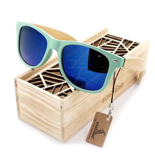 Wooden Bamboo Wayfarer Sunglasses (Light-Green)