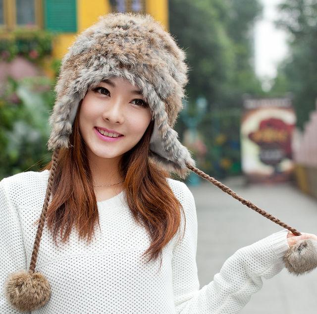 Invierno sombrero de piel de conejo hembra sombrero hecho punto otoño e invierno sombrero de piel de las mujeres
