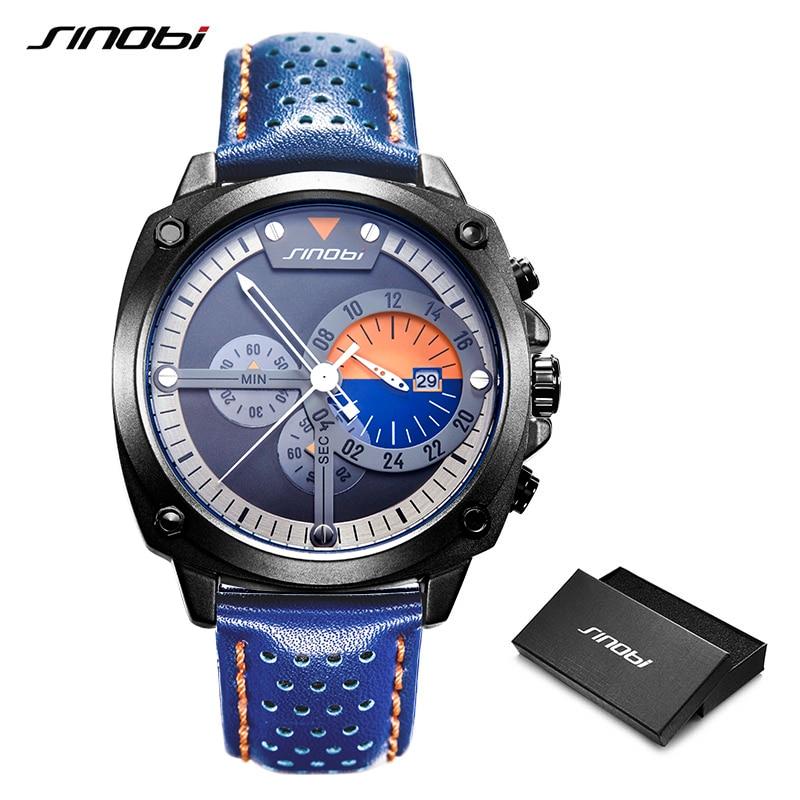 Image 4 - SINOBI Mens Watches Top Luxury Brand Waterproof Sports Wrist Watch Chronograph Quartz Military Genuine Leather Relogio Masculino-in Quartz Watches from Watches