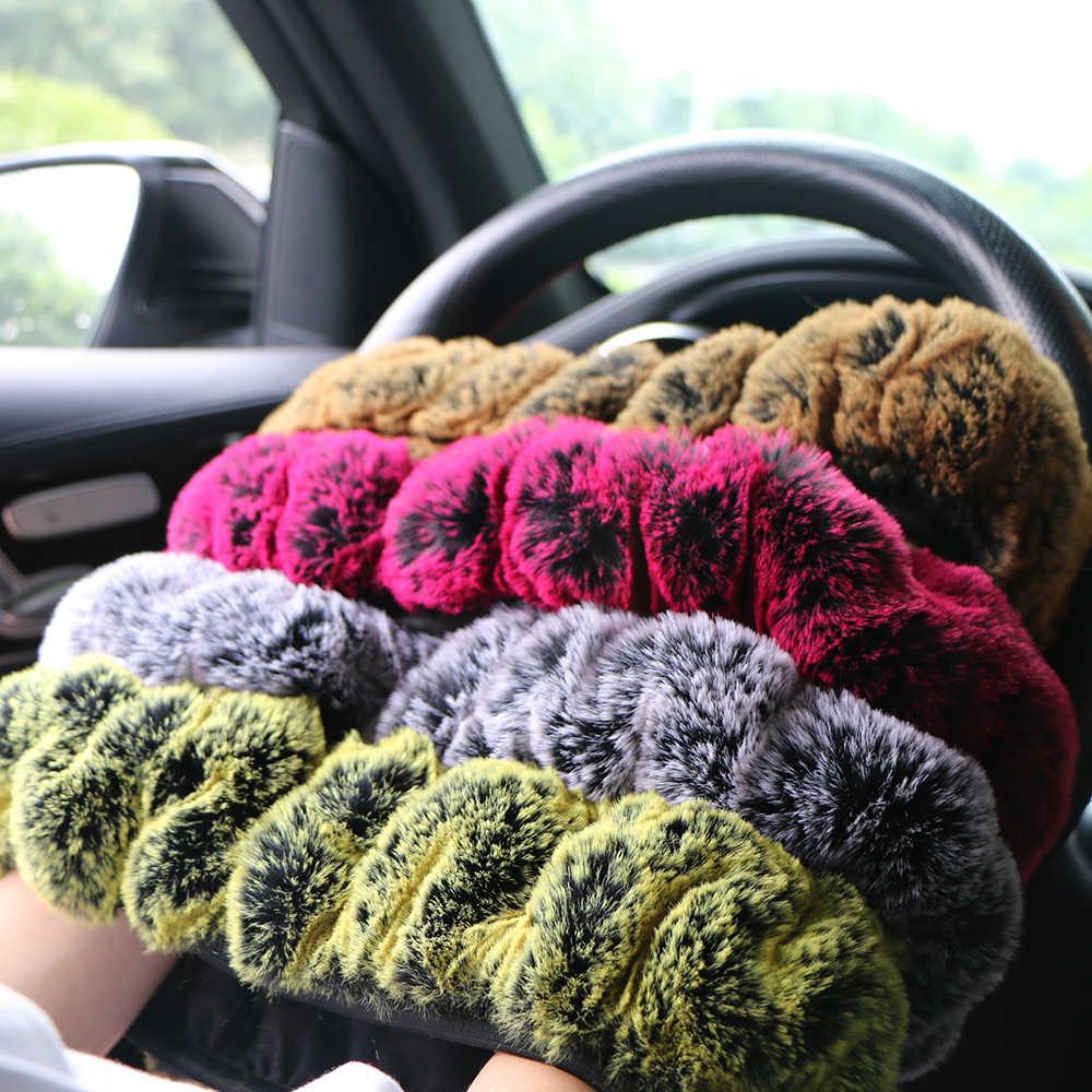 الشتاء سوبر لينة أفخم سيارة غطاء عجلة القيادة العالمي ، الدافئة فو الفراء السيارات المقود على المقود جديلة جميلة