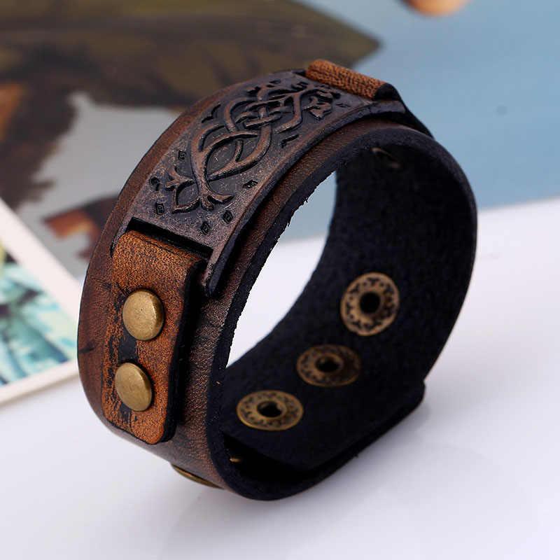 Vintage Steampunk pulsera de cuero de los hombres de cuero genuino Wrap pulseras brazaletes para hombres Punk Style Mens pulseras accesorios 2019