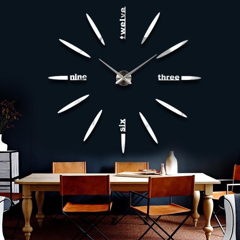 Big Size Wall Clock Part - 19: Fashion 3D Big Size Wall Clock Mirror Sticker DIY Wall Clocks Home  Decoration Large Wall Clock
