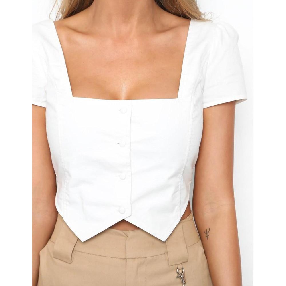 382ab51c9091b HARKO Crop Top 2018 Square Neck Short Sleeve Button Shirt Blouses Blusas  Women Casual White Blouse