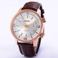 DEBERT 44,5 мм Мужские автоматические часы двумя коронами 5 ATM Водонепроницаемый наручные часы белый циферблат коричневый ремешок механические