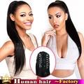 Класс 6А Unprecessed Бразильского Шелковистая Прямая клип в HumanHair VirginHair хвост расширения реми натуральных волос для черных женщин