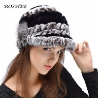 Striped Cony Hair Hats Side Flower Pompon Caps Winter Worm Hat For Women Fashion Solid Striped