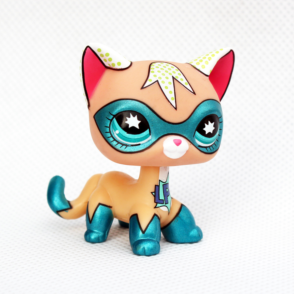 Real Rare Pet Shop Toys Super Cat Cute Animal Standing Short Hair Kitty With Blue Mask Animal Toys Gift For Kids