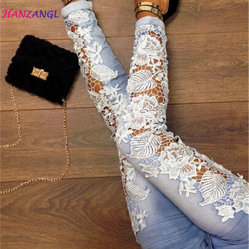HANZANGL Lace Floral Spliced Women Jeans New Fashion Sexy Hollow Out Woman Trousers 100% Cotton Denim Pencil Pants Plus Size