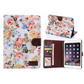 Fashion Cute Stand Flip folio Flower Series Jean Cloth Leather Case Cover For iPad Mini4 with Card Slots