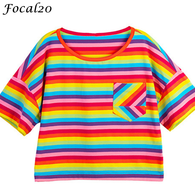 Focal20 Harajuku Rainbow Stripes Women Crop Top T-shirt Summer Short Sleeve Pocket Striped Cropped T Shirt Tee Top Streetwear cropped wide sleeve top