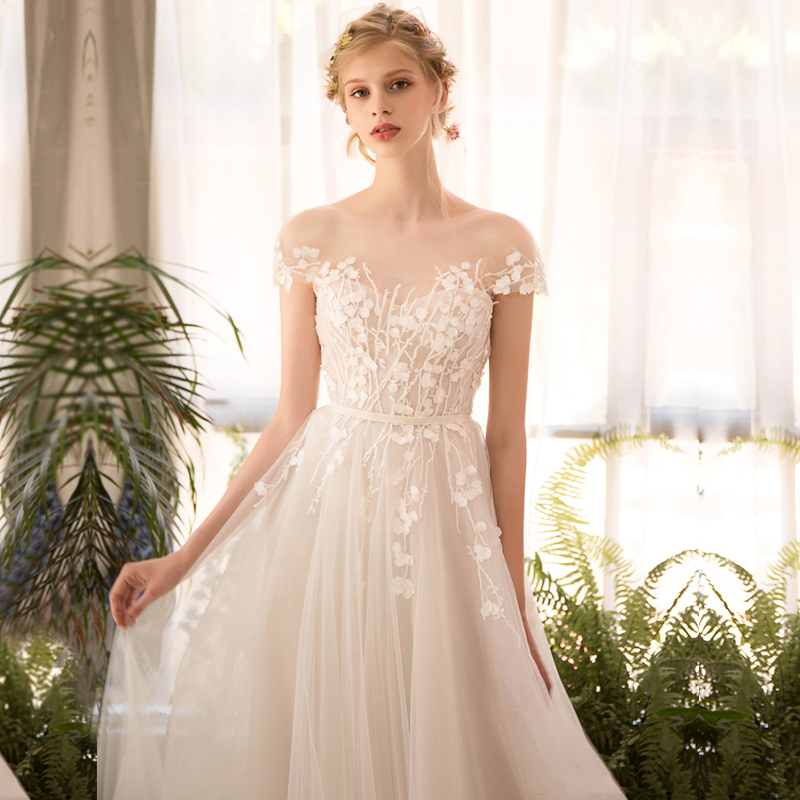 long half sleeve lace wedding dress high end 2018 bride simple ...