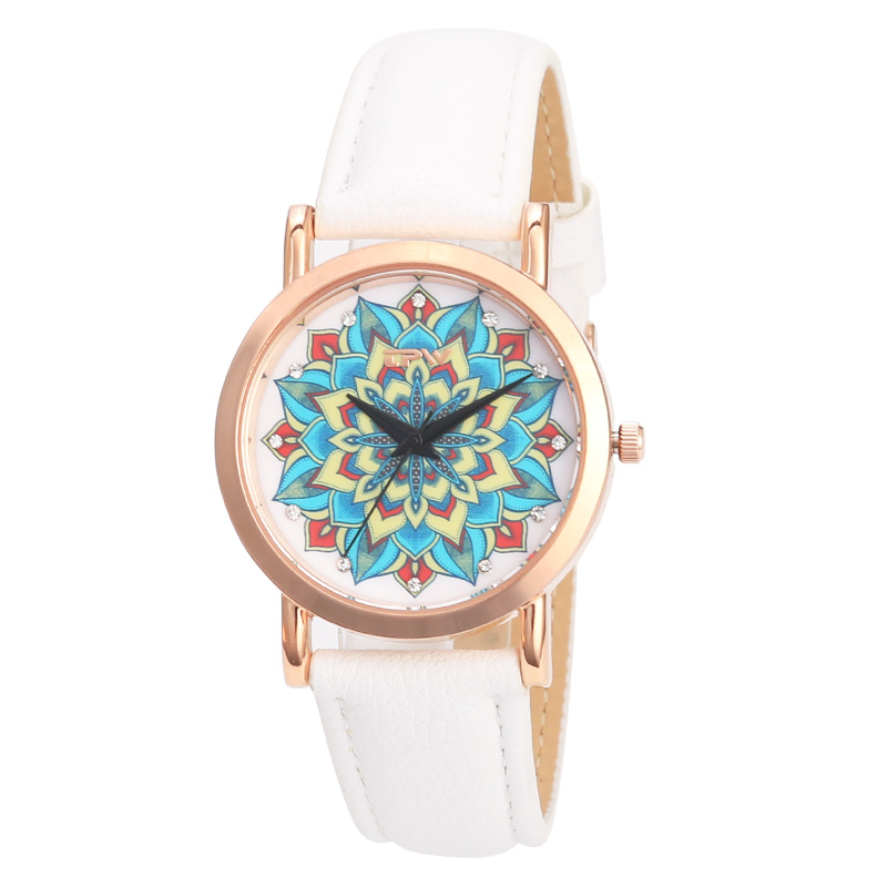 Hot fashion creative watches women men quartz-watch 2018 brand unique dial design mandala watch leather wristwatches clock