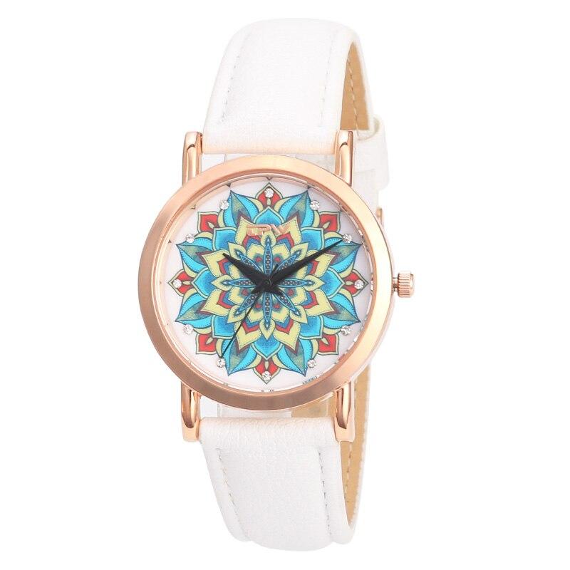 Hot fashion creative watches women men quartz-watch 2018 brand unique dial design mandala watch leather wristwatches clock