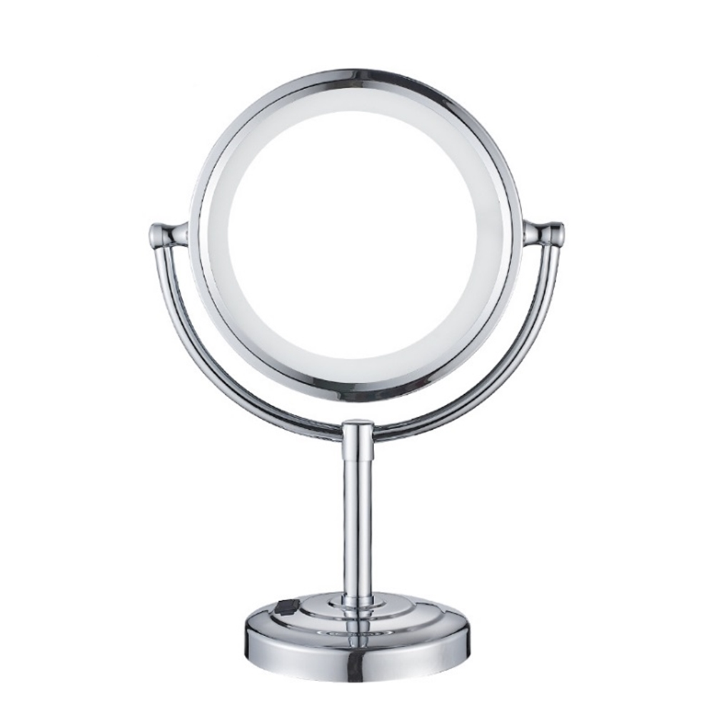 European Plug LED Makeup Magnifying Mirror Bathroom Desktop Double-Sided Copper Metal Creative Makeup Mirror 10 Times Magnifying nyx professional makeup двустороннее зеркало dual sided compact mirror 03