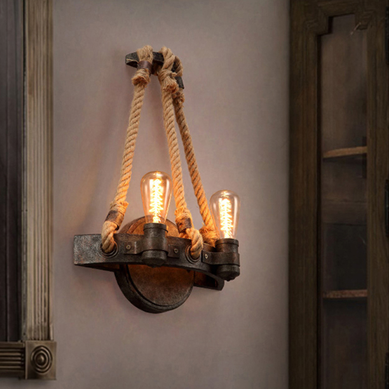 led e27 Loft Iron Rope LED Lamp LED Light Wall lamp Wall Light Wall Sconce For Bar Store Foyer Bedroom Corridor Lobby цена 2017