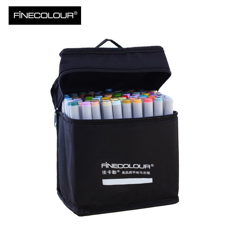 FINECOLOUR 36/48/72 Colors Dual Head Alcohol based Brush pen Sketch Markers set Manga Marker Pens For Drawing Art Supplies sketch marker pen 218 colors dual head sketch markers set for school student drawing posters design art supplies
