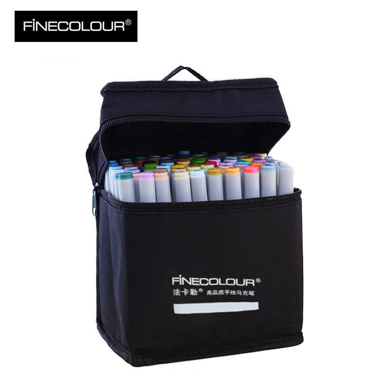 FINECOLOUR 36/48/72 colores doble cabeza a base de Alcohol pincel bolígrafo Sketch rotuladores set Manga rotuladores para dibujar artículos de arte