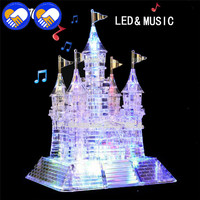 A TOY A DREAM 3D Crystal Puzzle Music LED Flash Castle Crystal Puzzle Music Light Model