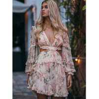 High Quality 2018 Runway Floral Print Elegant Sexy Mini Dress Deep V neck Cutout Waist Crossover Tied Back Ruffles Woman Dresses