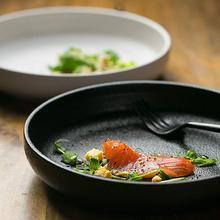 KINGLANG European-Style Ceramic  Deep Round Soup Plate Fish Salad Plate Tableware Matt Color Black White Sallow Dish Salad Plate