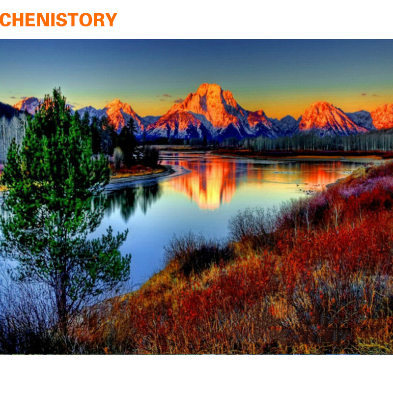 CHENISTORY Mountain DIY Painting By Numbers Kits Painting Calligraphy Acrylic Paint By Numbers For Home Decor 40x50cm Artworks