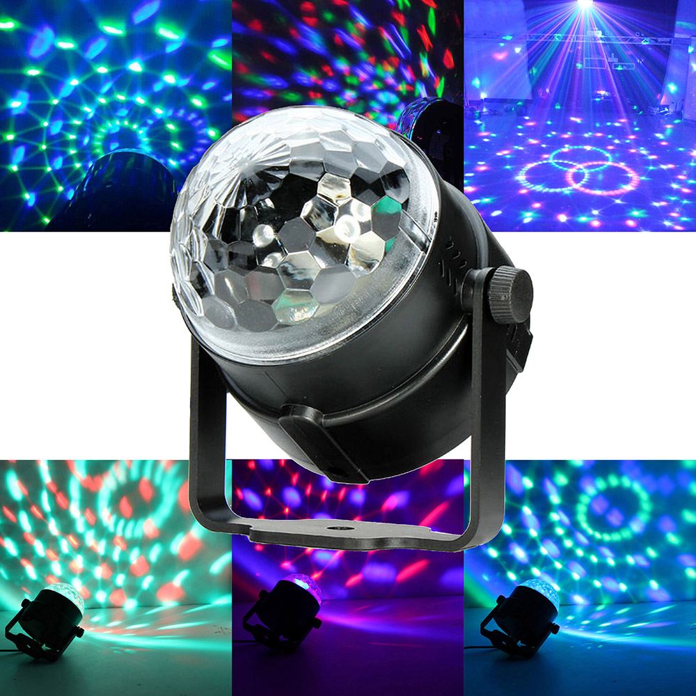 Mini  Control RGB LED Crystal Magic Rotating Ball Stage Lighting Lamp Bulb Party Disco Club DJ Light Music Star Show