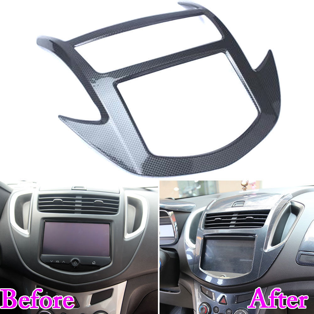 For Chevrolet Trax 2014 2015 2016 1pc ABS Plastic Console Center Dashboard Cover Trim Carbon Fiber Style Decorative Accessories