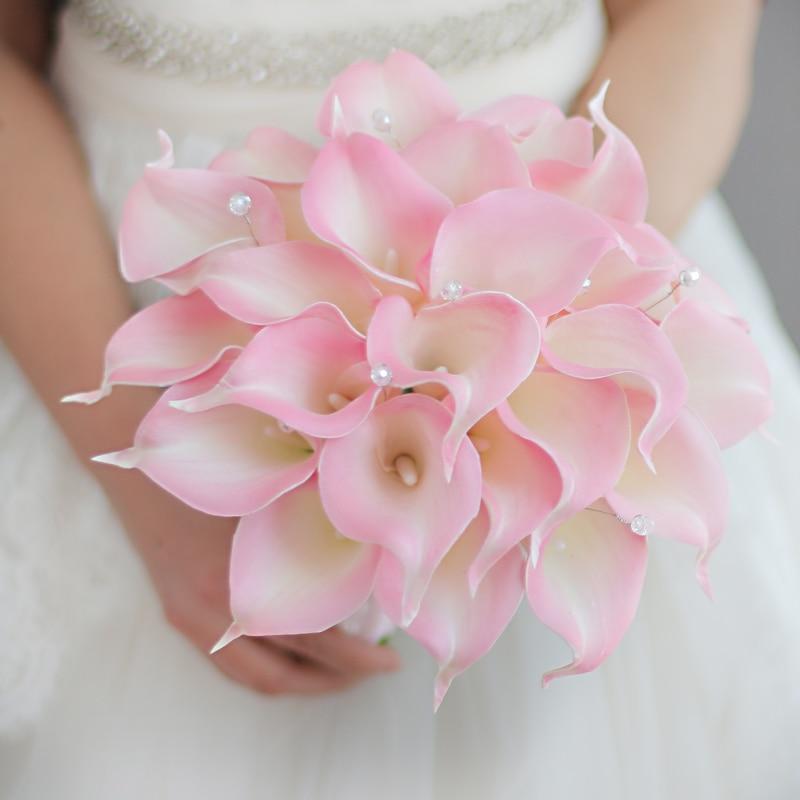 IFFO Bride Holding Flower Custom Modeling Pink Calla Lily Lily Wedding Bouquet Simple Bridesmaid Bride Bouquet DIY Decoration
