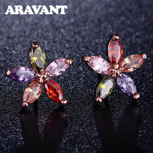 лучшая цена Multicolor Stones CZ Earrings For Women Flower Cubic Zirconia Crystal Rose Gold Color Small Stud Earrings Jewelry