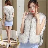 Fashion 2015 Winter White and black Waistcoat Women's Fur Vest Faux Fur Vest Sleeveless Fur Coat Thick Plus Size Warm Coats