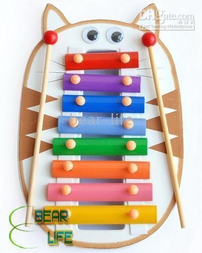 Toy Cat ,20pcs/lot Happy Xylophone Brightly Colored Wooden Musical