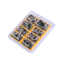 UTOYSLAND 8db / set Metal Wire Puzzle IQ Mind Brain Teaser rejtvények felnőtteknek és gyerekeknek Eeducational játék gyerekeknek