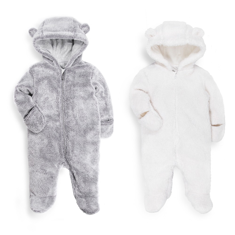 2018 newborn baby rompers winter long sleeve warm Fur Fleece clothes unisex boy Girl clothing onesie one piece vestido infantil unisex baby boys girls clothes long sleeve polka dot print winter baby rompers newborn baby clothing jumpsuits rompers 0 24m