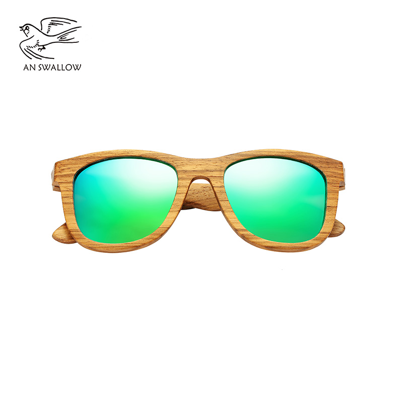 AN SWALLOW New 100% Real Zebra Wood Sunglasses Polarized Handmade Bamboo Mens Sunglass Sun glasses Men Gafas Oculos De Sol Mader 3