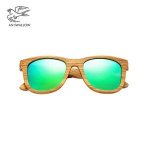 Image 3 - AN whale − lunettes De soleil 100% en bois De zèbre, polarisées, faites à la main, en bambou, monture solaire pour hommes, Gafas Oculos De Sol Mader