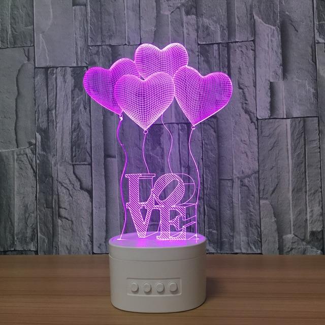 3D Night Lights Bluetooth Speaker Music Lamp 4 Heart Shape Bedroom Lamp 5 Color Change Romantic Atmosphere 3D lamp