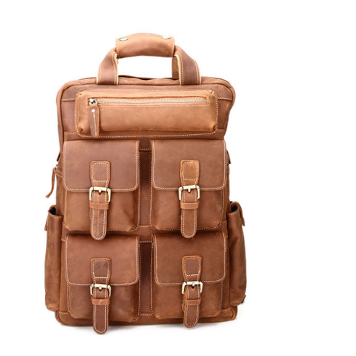 New Fashion Men Genuine Leather College Students Backpack Male High Quality Waterproof Bagpack Laptop backpack Travel School Bag padieoe 2017 genuine leather new fashion men luxury male bag high quality waterproof laptop messenger travel backpack school bag