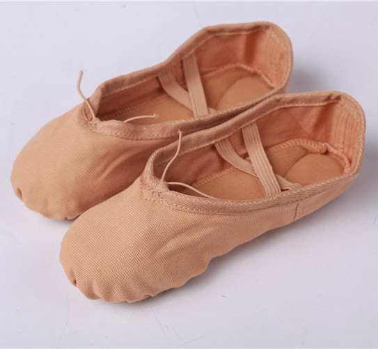 Canvas Soft Ballet Dans Sko För Kvinnor Split Cow Läder Outsoles Gym Yoga Dancesport Skor Girls Toe Dance Tofflor Size 44