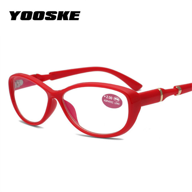 YOOSKE Round Cat Eye Reading Glasses Women Farsighted Eyeglasses Frame Ultralight Elegant Film Resin Hyperopia Old Light Glasses