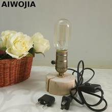 Night Light Luminarias De Mesa Led Lights Desk Lamp Vintage Table Lamps Wood Edison Iron Cage Led Table Lamp(China)